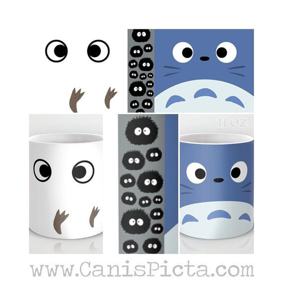 Blue & White Totoro Kawaii My Neighbor 11/15 oz Mug par CanisPicta