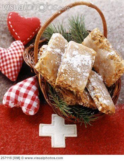 Basler Leckerli (Swiss cookies) on fir branches in basket