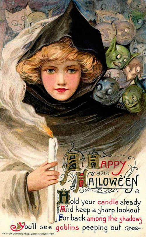 A dozen goblins looking to devour this little girl: | 13 Odd And Disturbing Vintage Halloween Postcards