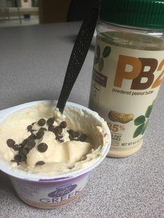 New go-to snack :) Light & Fit Greek yogurt. Add 1 tbsp of PB2 and 1 tsp of semi sweet mini morsels. 21 Day Fix approved :)