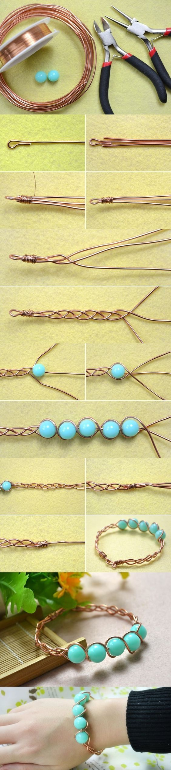 Tutorial on How to Make a Braided Wire Bangle Bracelet with Cyan Acrylic Beads from LC.Pandahall.com | Jewelry Making Tutorials & Tips 2 | Pinterest by Jersica