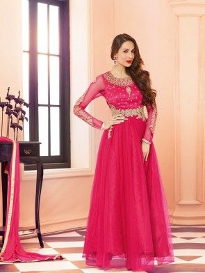 Pink Net Anarkali Suit with Embroidery Work