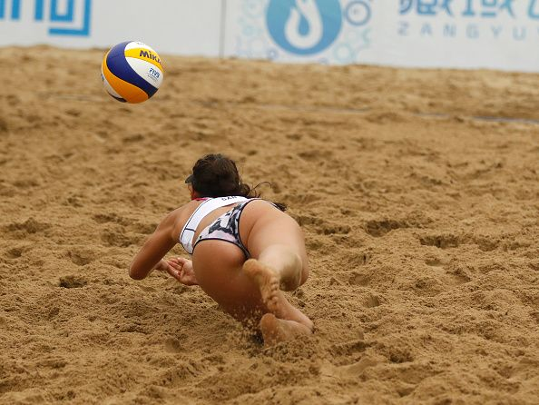 Melissa HumanaParedes of Canada in action at the FIVB Beach Volleyball World Tour Xiamen 2016 on April 15 2016 in Xiamen China