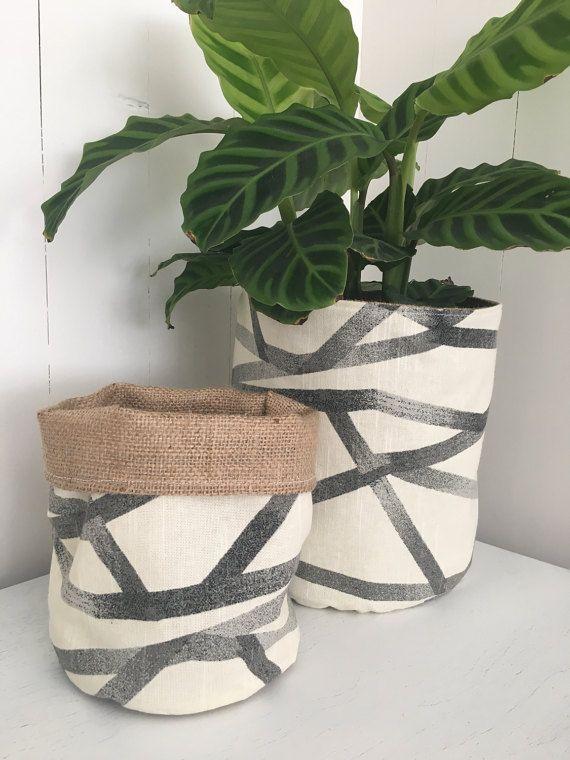 Geometric grey network hessian planter bag by restoregrace on Etsy