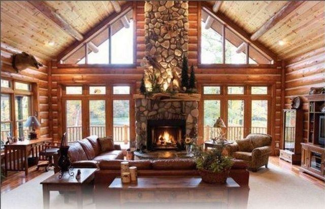 22 Stunning Wooden House With Amazing Living Room Page 6 Of 24 House Wooden House Design Cabin Homes