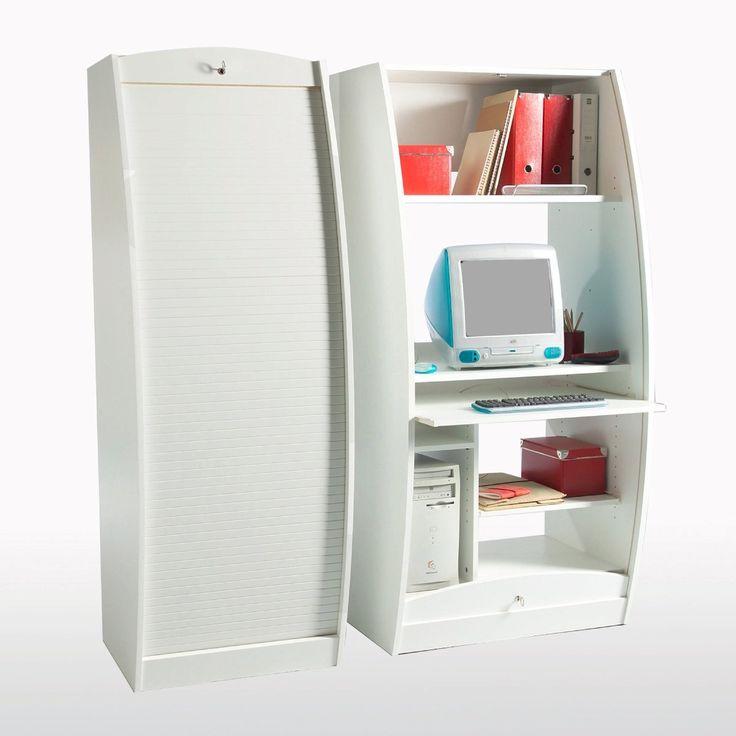 Armoire informatique offre de nombreux rangements pour for Meuble bureau qui se ferme