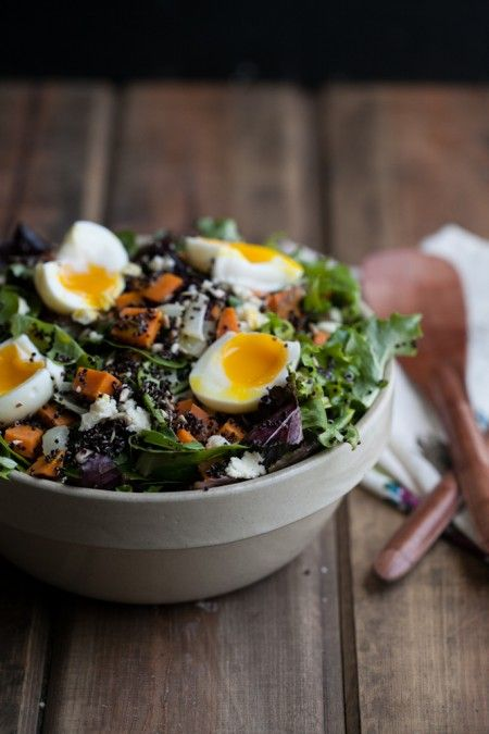 Sweet Potato + Quinoa Salad with Soft Boiled Eggs -- healthy, hearty and SO delicious!