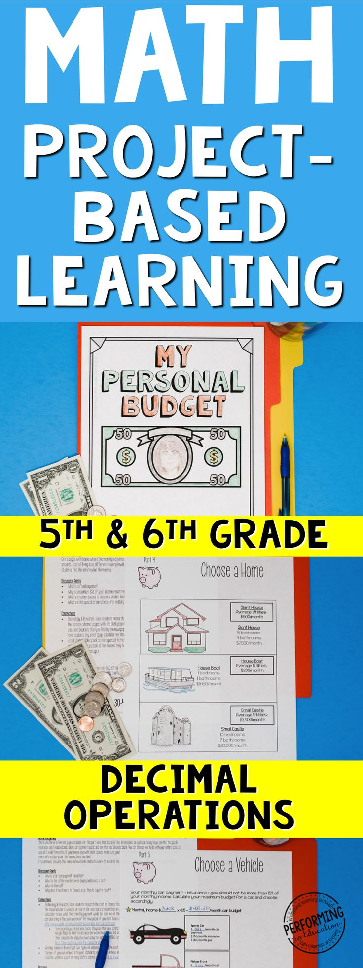This is the best way to teach and practice decimal operations - using a real world math project-based learning! Project based learning for 5th grade math. Financial Literacy and TEKS project-based learning. Help your students practice decimals and money skills with this quality 5th grade project-based learning. Challenge activities allow for it to be used in 6th grade as well. There's also a 6th grade version. It includes a teacher guide walking you through each step. #learnmath