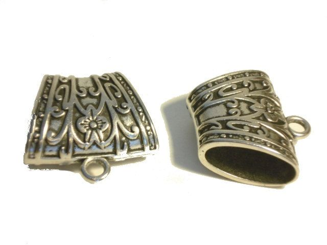 3pcs 40X29X20mm Zinc Alloy Silver Floral Scarf by coreringscarf