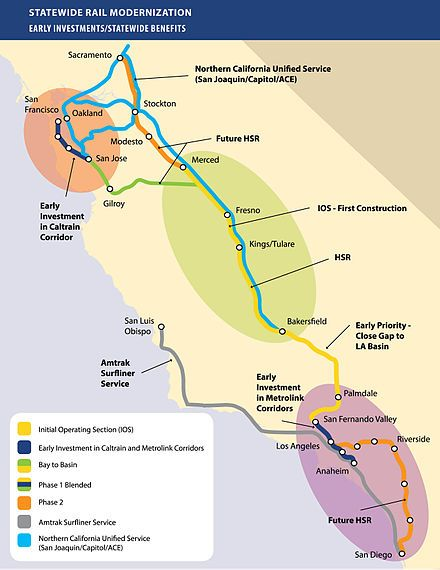 California High-Speed Rail - Wikipedia, the free encyclopedia. There has also been proposed a high speed line from the Ontario Airport near San Bernardino to Las Vegas.