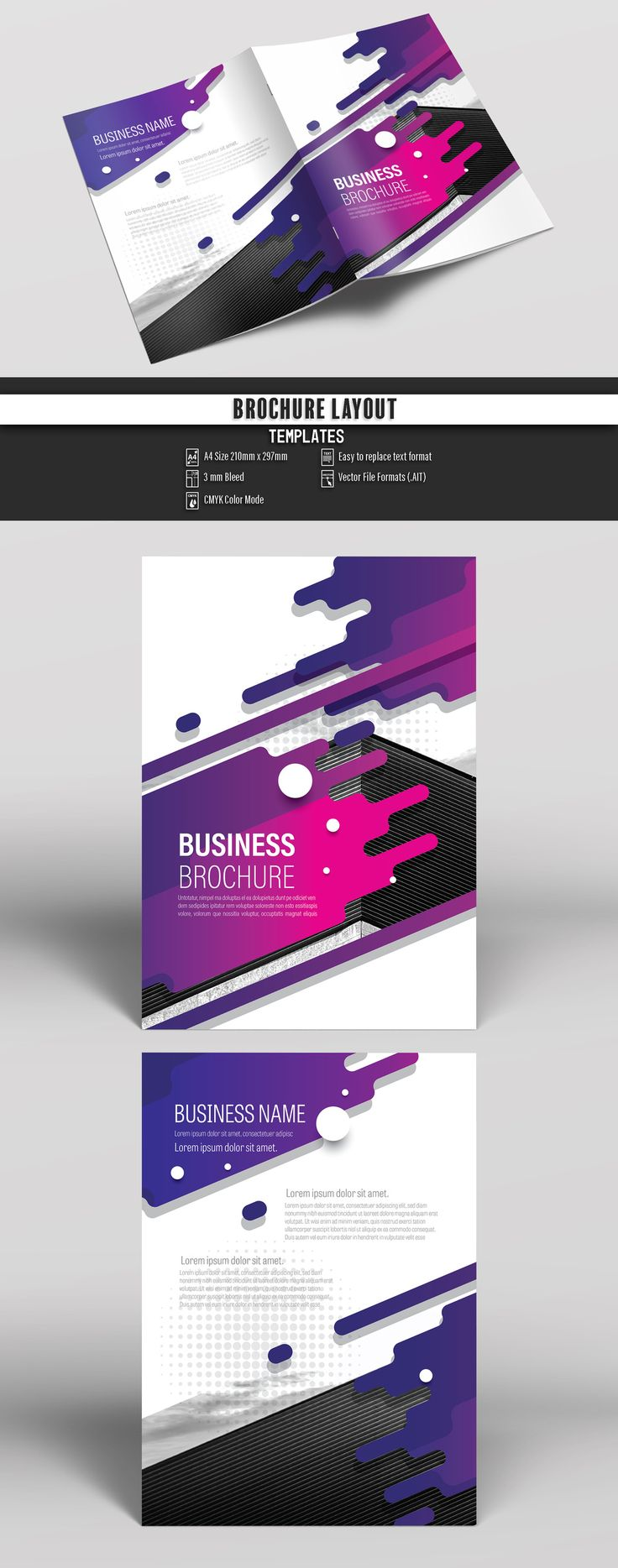 Brochure Cover Layout with Purple Splash Design 1. Buy this stock template and explore similar templates at Adobe Stock | Adobe Stock #Brochure #Business #Proposal #Booklet #Flyer #Template #Design #Layout #Cover #Book #Booklet #A4 #Annual #Report| Brochure template | Brochure design template | Flyers | Template | Brochures | Flyer Background | Background design | Business Proposal | Proposal Design | Booklet | Professional | Professional - Proposal - Brochure - Template
