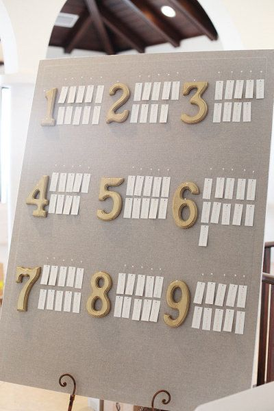 diy escort cards pin board - could hang the keys on a board like this, too...
