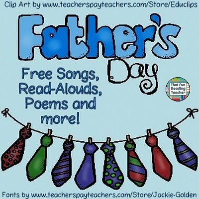 Free Playlists of  Read-Alouds, Songs, Poems and Vidoes about #FathersDay!