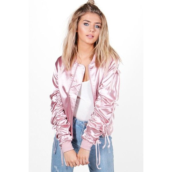 Boohoo Cynthia Ruched Satin Bomber Jacket ($50) ❤ liked on Polyvore featuring outerwear, jackets, satin duster coat, white satin jacket, puffy bomber jacket, puffer jackets and puff jacket