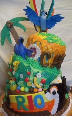 This is a great example of a Rio cake. Cake makes a great snack to munch on during movies - A Southern Outdoor Cinema movie snack & food idea for outdoor movie events.