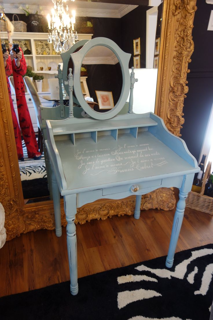 old found dressing table finished in patina fossil paint with french love poem stencil