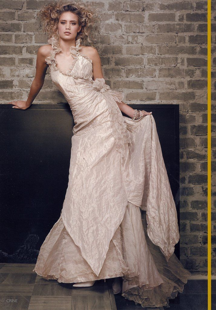 Garamaj silk wedding dress champagne colour with ruffle collar