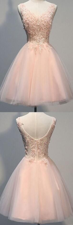 Awesome V-neck Homecoming Dress,Lace Homecoming Dress,Sleeveless Knee-Length Homecoming Dress,Pearl Pink Short Prom Dress,Open Back Homecoming Dress with Appliques