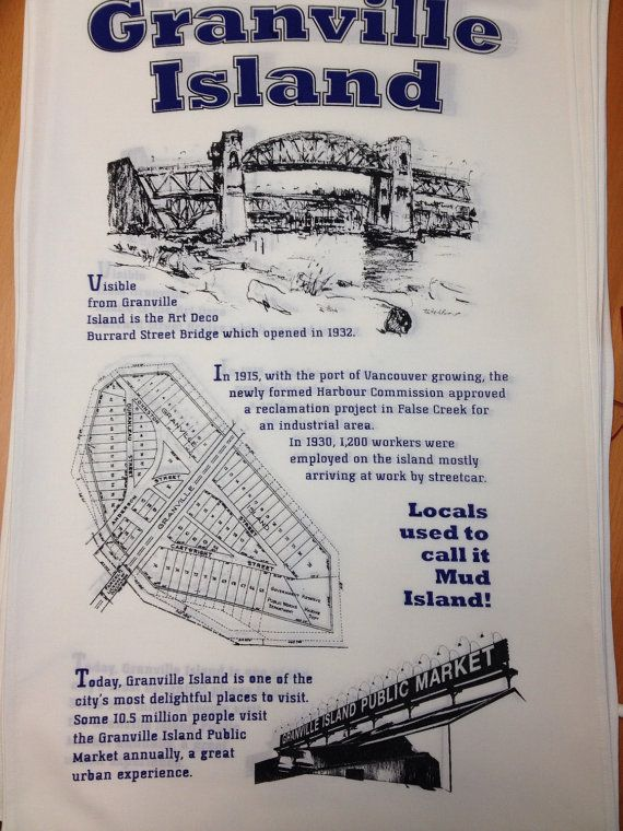 Hand printed Granville Island Tea Towel by TheHivePrinting on Etsy