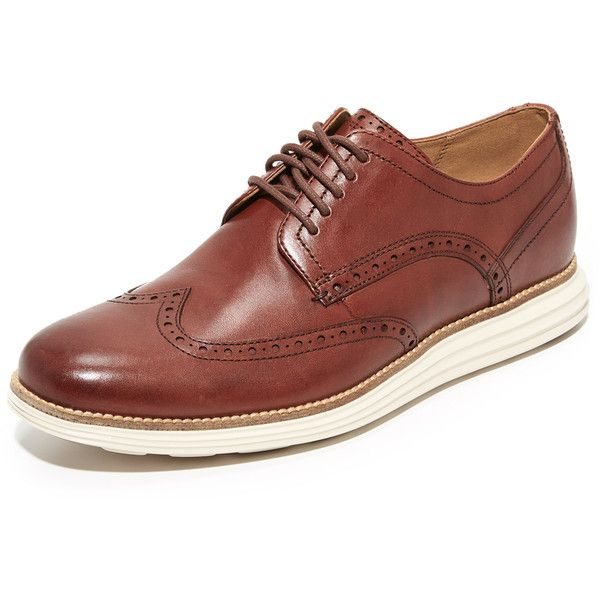 Cole Haan Original Grand Short Wingtip Oxfords ($150) ❤ liked on Polyvore featuring men's fashion, men's shoes, men's oxfords, brown, mens brown lace up shoes, cole haan mens shoes, mens lace up shoes, mens wing tip shoes and mens brown oxford shoes