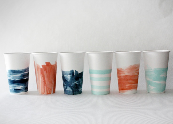 hand-painted watercolor cups