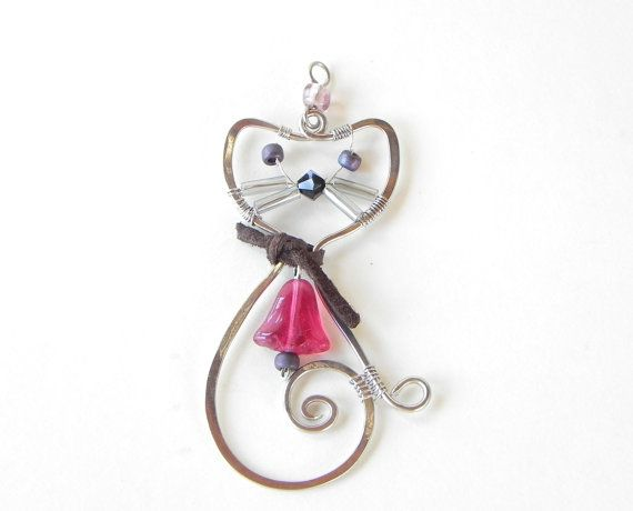 Handcrafted Wire Wrapped Cat pendant by BabaYagaDD on Etsy, $18.00