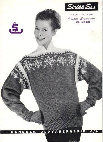Another famous sweater from the 50'es, SNØKRYSTALL, by Unn Søiland.