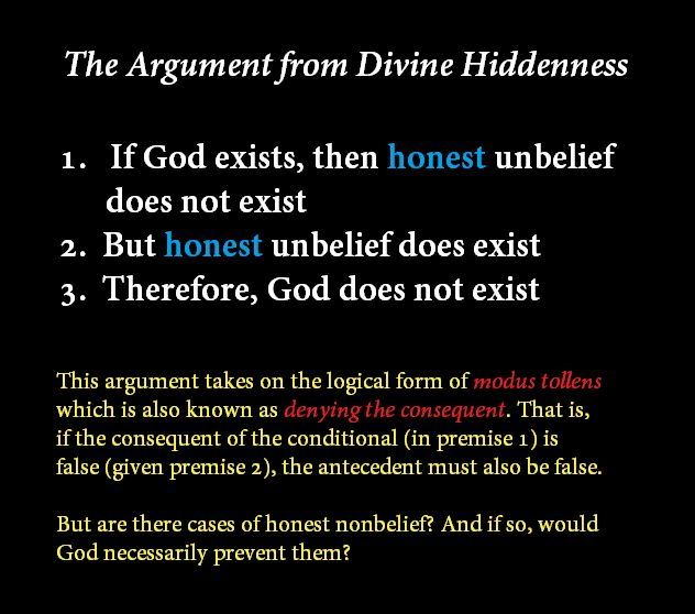 Modus Tollens: the logical form of the Argument from Divine Hiddenness