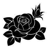 decorative stencil : Black silhouette of rose.  illustration. Illustration