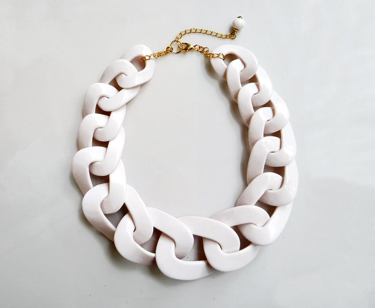 White Chain Statement Necklace, Oversized Chunky Chain Necklace, White Short Necklace by AlinaandT on Etsy https://www.etsy.com/listing/201333213/white-chain-statement-necklace-oversized