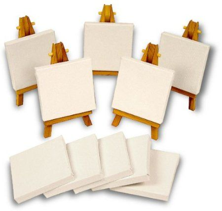 {cute for painting party as a favor} Mini Canvas and Easel Set of 15 Pieces 10 Mini Canvases 5 Mini Easels: Amazon.com: Kitchen & Dining