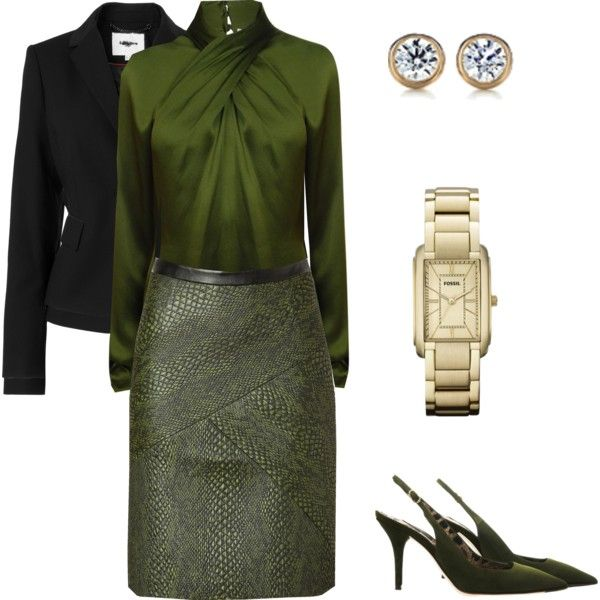 """""""Olive Green Business Look"""" by nancyshops on Polyvore"""