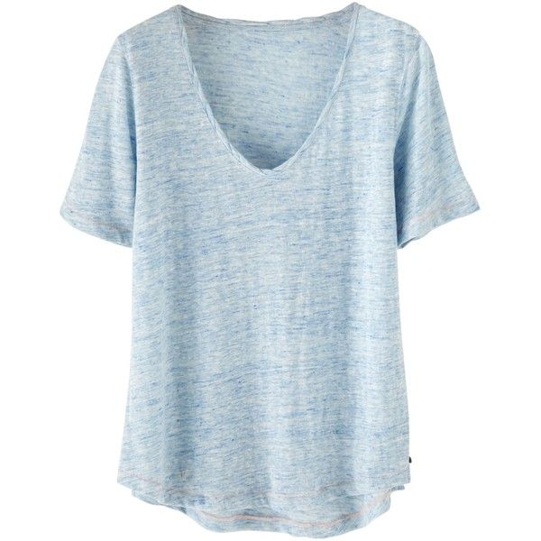 Wrap London Iris Linen T-Shirt , Blue Frost ($60) ❤ liked on Polyvore featuring tops, t-shirts, blue frost, blue top, short sleeve t shirts, scoop tee, twisted tees and blue tee