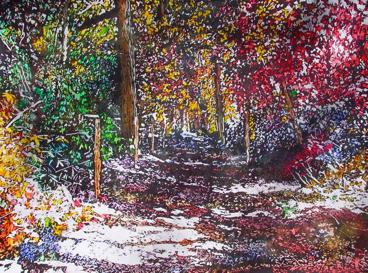 "sunlit path thru the woods 1 22"" x 30"" micheal zarowsky watercolour on arches paper - private collection"
