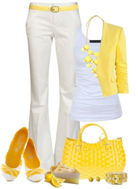 White pant , yellow coar .white shirt , shoes, bag...Outfit set For Ladies: