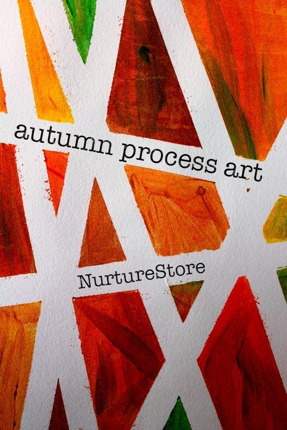 fall process art ideas using tape resist technique - gorgeous process art project for kids
