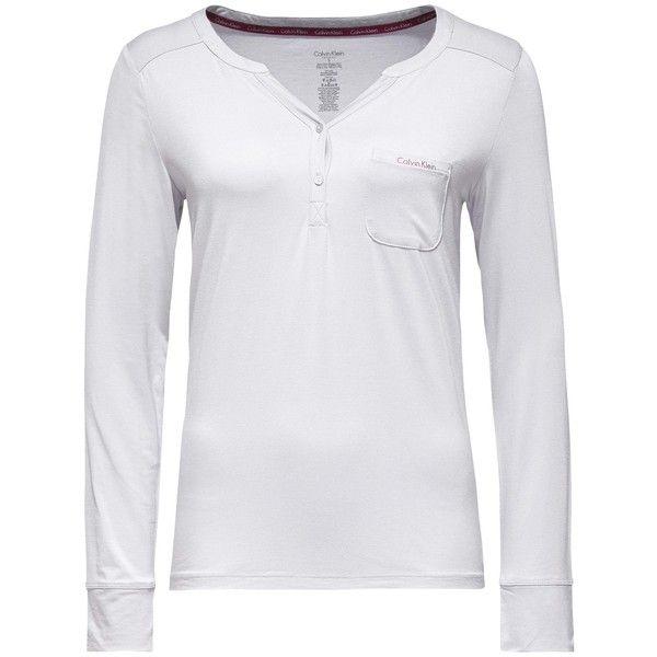 Calvin Klein Long Sleeve Pyjama Top (£18) ❤ liked on Polyvore featuring intimates, sleepwear, pajamas, pajama tops, modal pajamas, calvin klein sleepwear, long sleeve pjs and long sleeve pajamas