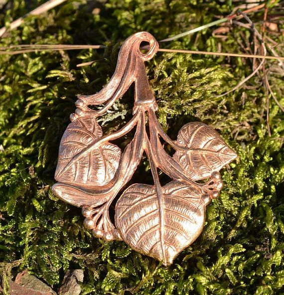 Lime leaves - a bronze pendant with a hidden bale. Slavic national tree.