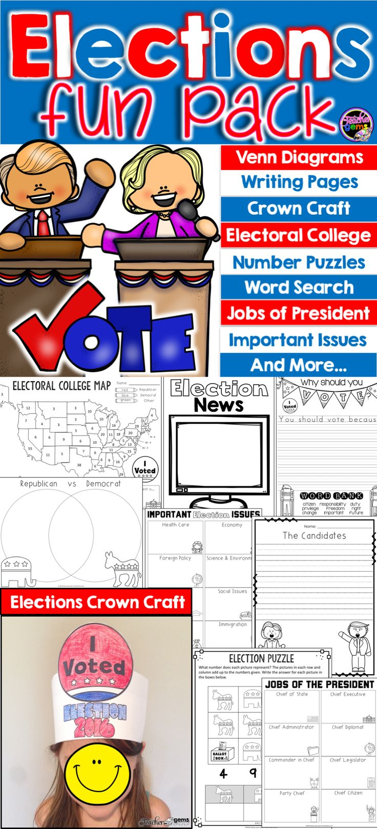 Drawing diagrams in pages - Elections Fun Pack Venn Diagrams Writing Pages Electoral College And More