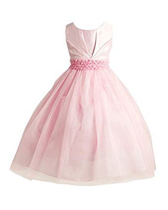 Amazon.com: Joy Kids Little Girls Pleated Satin Pearl Special Occasion Flower Girl Dress 2 Pink: Clothing