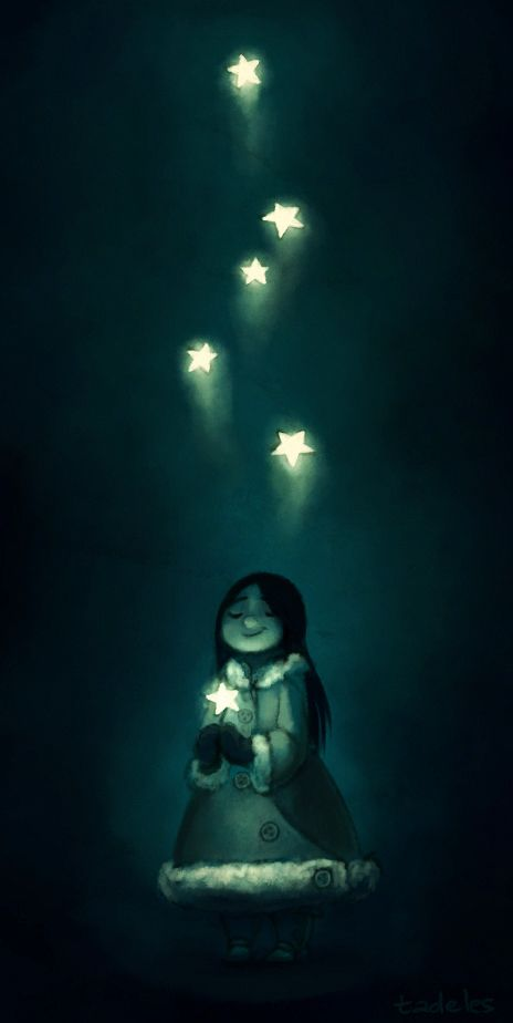 illustration, figure, child, girl, front, holding, night, stars, lighting, winter, magic. Aliyah by tadeles
