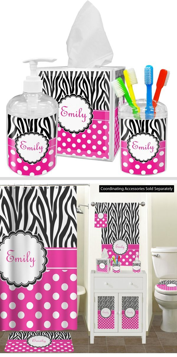 Zebra Print Polka Dots Bathroom Accessories Set Personalized