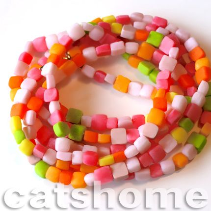 ROMANTIC CLAY PENDANTS - extra long candie necklace by catshome