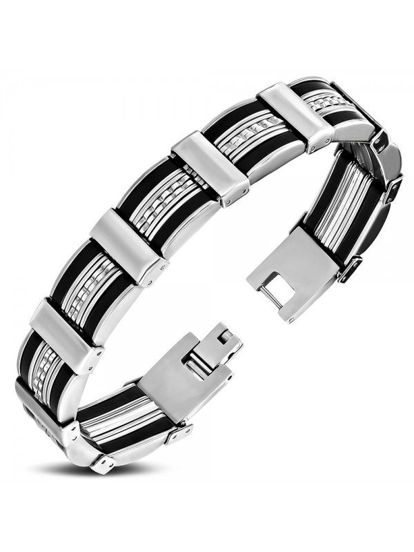 Stainless steel and black rubber bracelet for men, with links of various geometric shapes.  Stainless steel jewelry items are delivered in shock-proof envelopes provided for free.