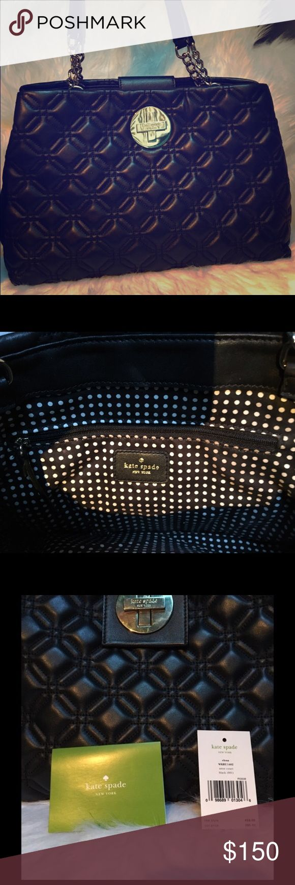 Kate Spade Elena Black Quilted Shoulder bag Kate spade Elena shoulder bag with gold hardware and Kate spade turn lock closure in front. Interior is cotton polka dotted. In great condition. No scuffs on the leather. kate spade Bags Shoulder Bags