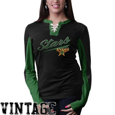 Loving the vintage style // Old Time Hockey Dallas Stars Ladies Vintage Adina Lace-Up Long Sleeve T-Shirt - Black/Green