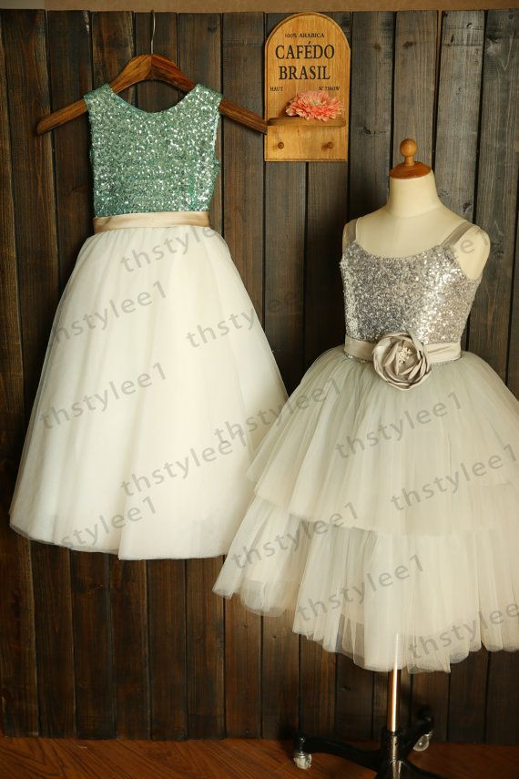 Mint Blue Sequin Ivory Tulle Flower Girl Dress with by thstylee1