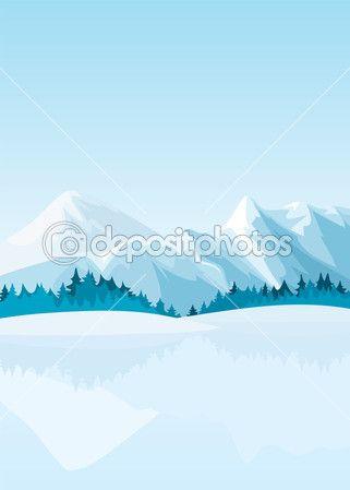 Иллюстрации зимних гор с озером
