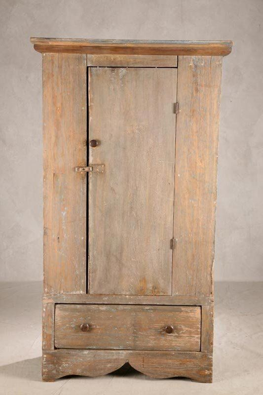 """COUNTRY JELLY CUPBOARD. Pine and poplar with worn old bluish grey paint, 34""""w, 67 ½""""h."""