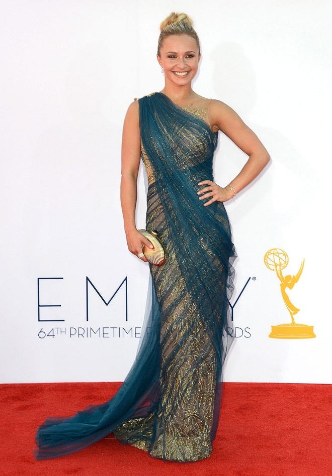 Hayden Panettiere looks mature for her age in a Marchesa gown at the 2012 Emmy Awards